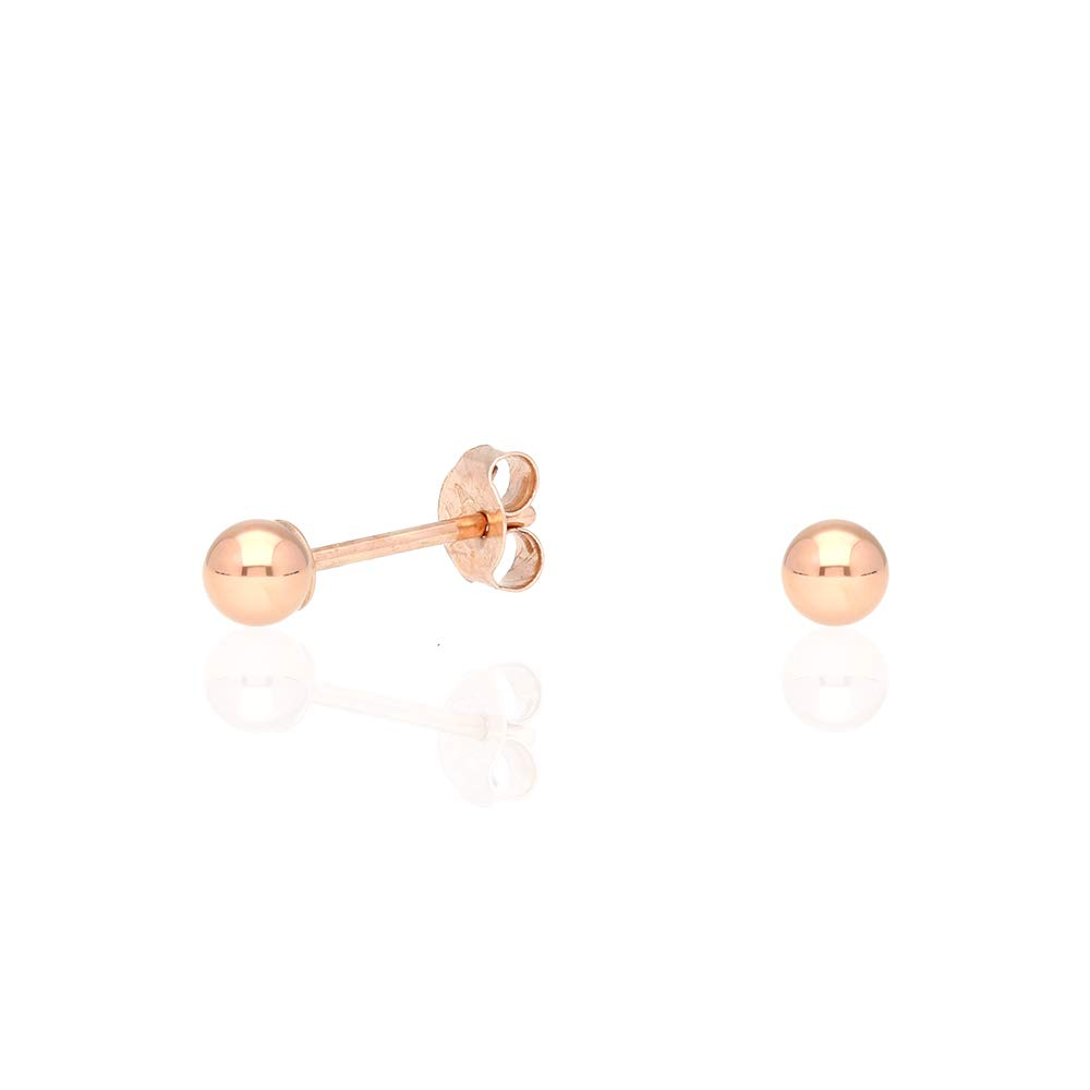 9f0bbc278 Amazon.com: 14k Rose Gold Polished Ball Push Back Stud Earrings 3mm-10mm:  Jewelry