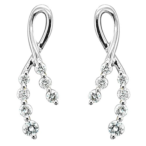14k White Gold 7-Stone Ribbon Journey Diamond Earrings (0.36 carat)