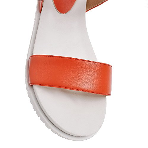 Allhqfashion Dames Pu Solid Gesp Open Teen Kitten-hakken Sandalen Oranje