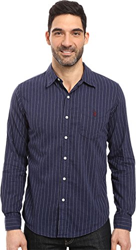 U.S. Polo Assn. Men's Long Sleeve Slim Fit Point Collar Striped Casual Shirt, Midnight Heather, Small
