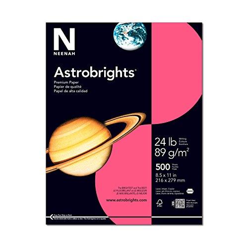 """Astrobright Pink Letter Inkjet Paper (Astrobrights Color Paper, 8.5"""" x 11"""", 24 lb/89 gsm, Plasma Pink, 500 Sheets (22118))"""