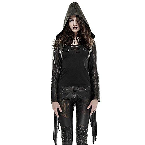 Steampunk Women's Hooded Jacket Coats Short Leather Tassels Jackets Top (S, Black) by Punk