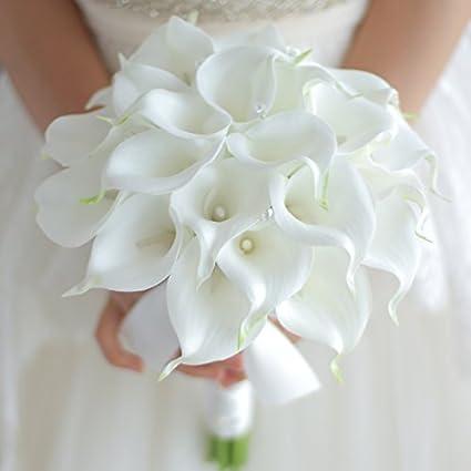 Amazon Com Iffo Bride Holding Flowers High Simulation Pu Calla