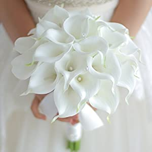 IFFO Bride holding flowers, high simulation pu calla lily bouquet, and never withered bouquet, bridesmaids bouquets 10
