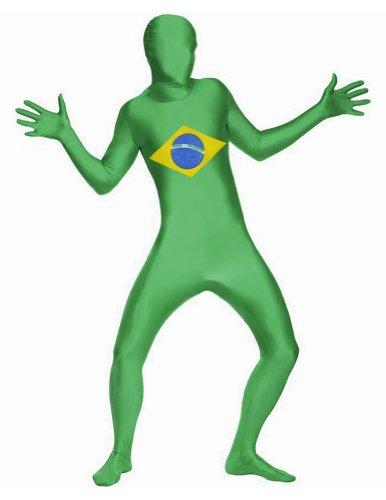 [SecondSkin Men's Full Body Spandex/Lycra Suit World Flag Design, Brazil, Large] (Brazil Costume Male)