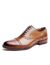 Kirabon Zapatos de Hombre Brock Tallado Zapatos de Hombre Vestido de Negocios Zapatos de Cuero (Color : Marrón, Size : 45)