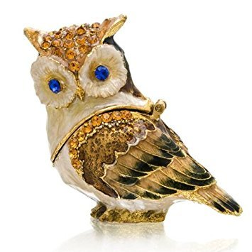Bejeweled Box Trinket Cat - Owl Crystal Studded Jewelry Trinket Box