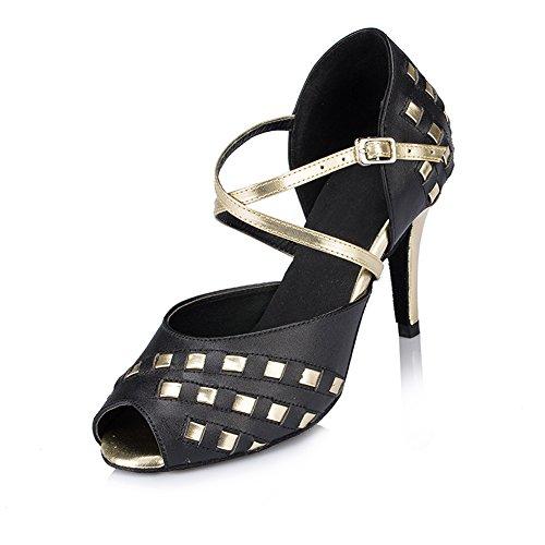 Misu Women's Peep toe Sandals Latin Salsa Tango Practice Ballroom Dance Shoes with 3.3