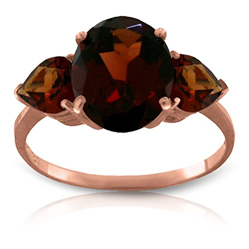 (4.1 CTW 14k Solid Rose Gold Ring with Natural Garnets - Size 8)