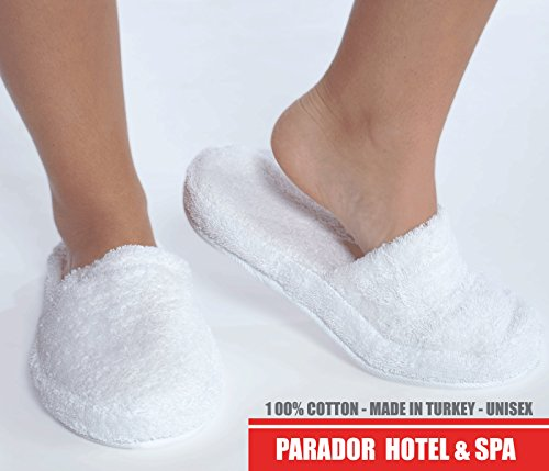 11803f71b1ca Turkishtowels Luxury 100% Cotton Terry Spa Slippers in White - Large
