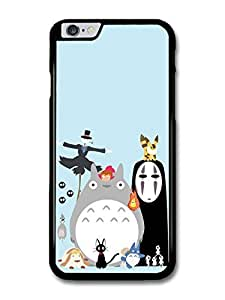Miyazaki Animation Characters with Totoro No Face Calcifer Fire Illustration case for iPhone 6 Plus wangjiang maoyi