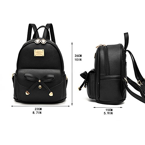 Girl with Bow Cute Leather Backpack Mini Backpack Wallet by QANPE (Image #1)