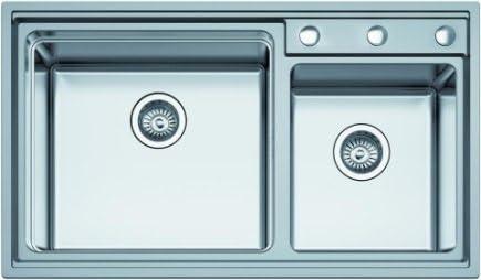 albaño - (modello Top) lavello 2 seni per cucina in acciaio inox, 86 ...