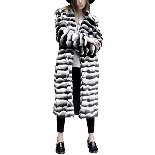 Manga Invierno Bolsillos Abrigo Modernas Outerwear Blanco De Larga Piel Chaqueta Laterales Caliente Piel Mujer Chaqueta De Huixin Sintética Polares Piel qPBwpp