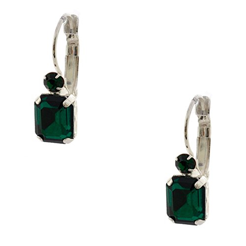 Topwholesalejewel Wedding Earrings Princess Cut Silver Emerald Leverback Dangle (Emerald Cut Dangle)