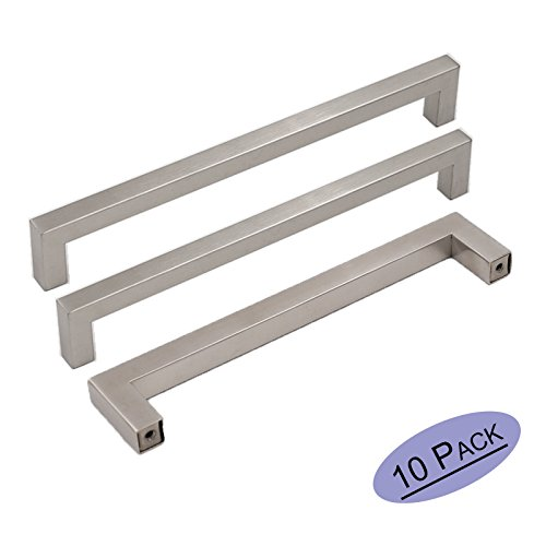 10Pack Goldenwarm Brushed Nickel Square Bar Cabinet Pull Drawer Handle Stainless Steel Modern Hardware for Kitchen and Bathroom Cabinets Cupboard, Center to Center (Stainless Steel Cabinet Hardware Pull)