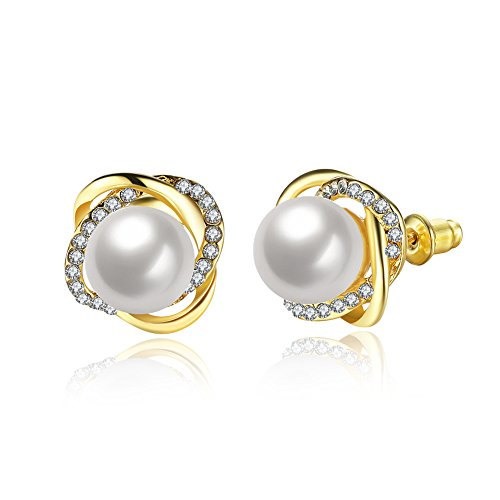 14K Gold Rose Gold Palted CZ Simulated Diamond Pearl Stud Earrings For Women Girls