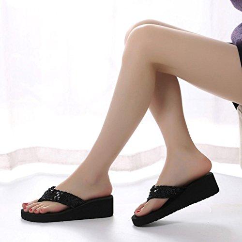 Zapatilla Chanclas verano y Sandalias Flop ❤️Xinantime Flip lentejuelas ❤️Negro exterior flops para mujer de interior antideslizantes con Mujer Flip pPxrp7