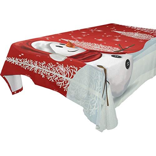 Naanle Christmas Snowman Snowflake Rectangle Tablecloth 54