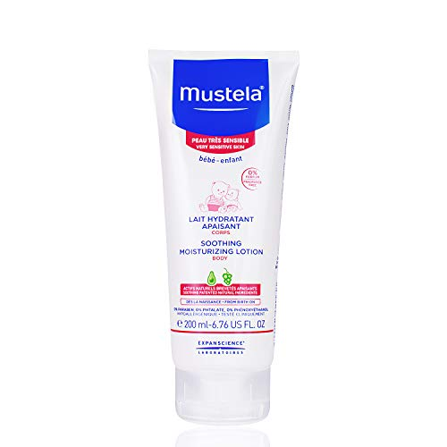Mustela Soothing Moisturizing Body Lotion, Natural Baby Lotion for Very Sensitive Skin, Fragrance-Free, 6.76 Fl. Oz.