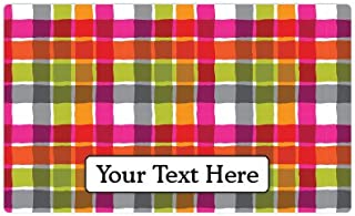 product image for Drymate Personalized Pet Place Mat - Pink Plaid - Personalized Pet Food Mat