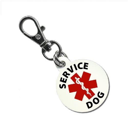 1 Light Honey Pendant - SERVICE DOG Red Medical Alert Symbol 1.25 inch Aluminum Dog Tag