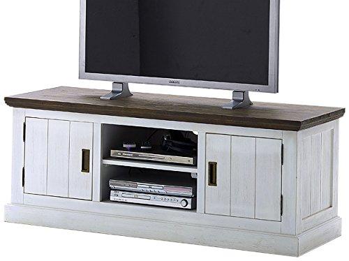 Robas Lund AW800T12 Gomera TV-Element, Massivholz, Akazie weiß / basalt braun lackiert, 2 Türen / Fächer, circa 155 x 60 x 55 cm