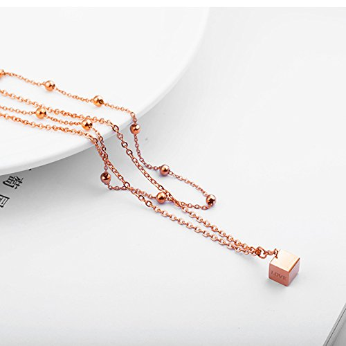 Beydodo Rose Gold Ankle Bracelet 11 Inch Rose Gold Anklet Stainless Steel Cube LOVE Double Chain Anklet by Beydodo (Image #2)