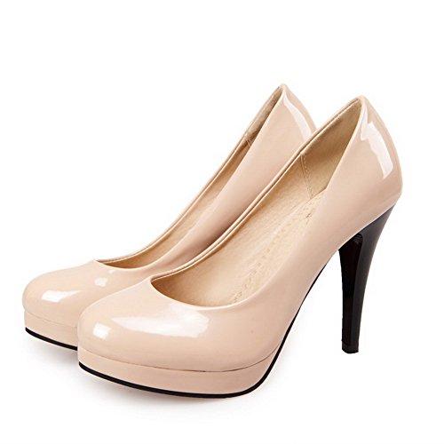Stylet AllhqFashion Légeres Rond Chaussures Tire Abricot Verni Femme Unie Couleur OqIOr