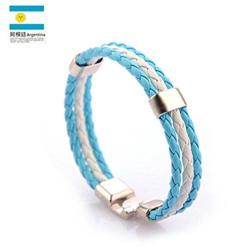 LLguz Simple Charm Unisex Fashion Personality World Cup Bracelets Multi Wrap Hemp Surfer Braid Bracelet Jewelry Ornament (Multicolor G) -