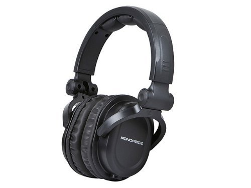 Monoprice Premium Hi-Fi DJ Style Over the Ear Professional Headphones - Black with microphone for Studio PC Apple Iphone iPod Android Smartphone Samsung Galaxy Tablets MP3 (Renewed) (Monoprice Dj)