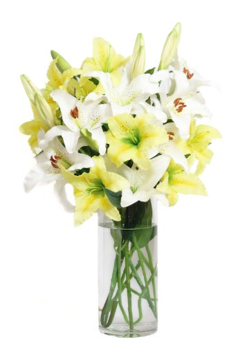 Bouquet Delight (KaBloom Lovely Lily Bouquet of Sweet Delight: 5 Yellow Lilies & 5 White Lilies with Vase)