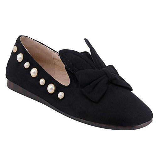 Mee Shoes Damen flach mit Schleifen Nubuckleder Pumps Schwarz