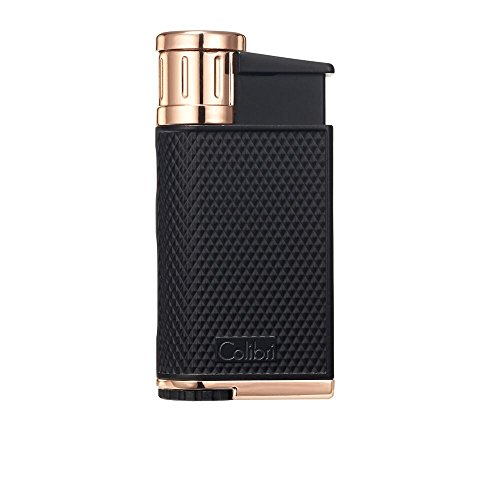 Colibri EVO Angled Single Jet Flame Lighter - Black & Rose G