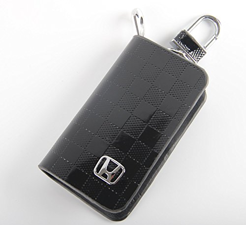 Key chain Bag black Checkerboard pattern Genuine Leather Ring Holder Case Car Auto Coin Remote Smart Key cover Fob Alarm Security Zipper keychain Wallet Bag (Honda) (Auto Ring Leather Key)