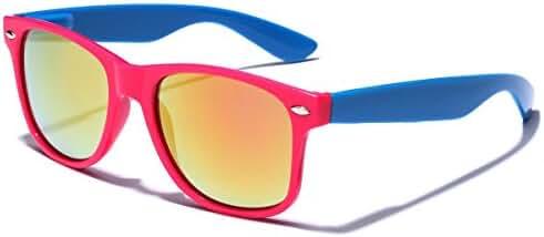 Colorful Two Tone Retro Fashion Sunglasses - Color Mirrored Lens