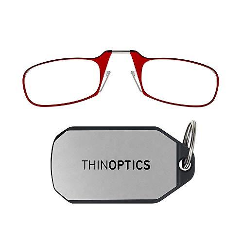(ThinOptics Reading Glasses + Keychain Case | Red Frames, 1.00 Strength)