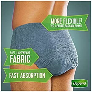 Depend FIT-FLEX Incontinence Underwear for Men, Maximum Absorbency, L/XL, Packaging May Vary from Depend G