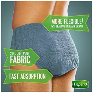 Depend FIT-FLEX Incontinence Underwear for Men, Maximum Absorbency, L/XL, Packaging May Vary - Pack of 2