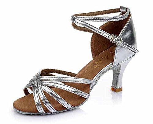 YFF Neue Women's Ballroom Latin Tango Schuhe 5 cm und 7 cm hohem Absatz,Silber 7 cm,4.5