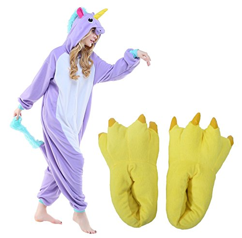 Unicorn Halloween Cosplay Costume Pajamas One Piece Outfit+Slipper Monster Paw(S fits 57-63')