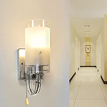 Elitlife Modern Style Wall Light Lamp Silver Chrome & White Glass ...