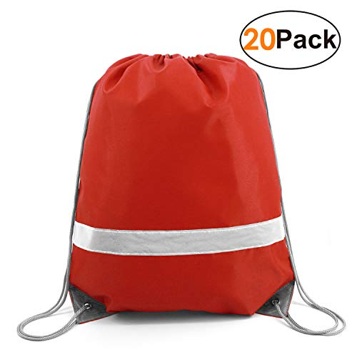 20 Pieces Red-Drawstrings-Bag-Backpack Bulk Reflective Sports Gym Sack Pack Cinch Bags ()