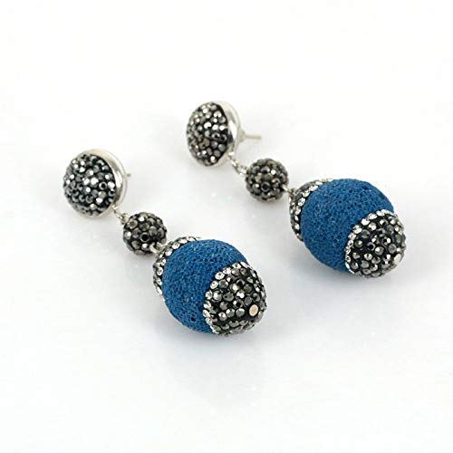 (Trendy Jewelry | Oval Blue Black Purple Green Yellow Lava Stone Charms Earrings | Rhinestone Earring for Women | Wedding Party Gift (Dark Blue))
