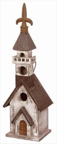 Carson Home Accents 106634 Birdhouse Church Black White 17.75 x 5.5