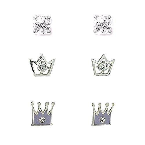 TOC Sterling Silver Rhinestone Set Silver & Lilac Crowns & Round Studs-3 Pairs