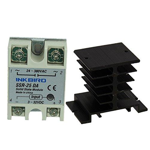 Inkbird SSR Solid State Relay + Heat Sink (Inkbird SSR - 25DA, Black Heat Sink)