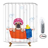 Riyidecor Funny Rubber Duck Dog Puppy Shower Curtain 72x72 inch with Metal Hooks 12 Packs Cute Animal Red Bath Bubble Curtains Panel Fabric Polyester Waterproof Bathroom Set