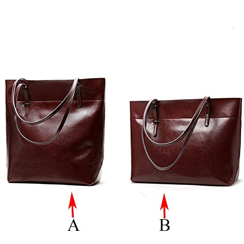 Bags Genuine 6 Totes Bags Shopping Bags Women B for red Practical Hobo Handbags Shoulder Leather coffee colors zwF7qrz