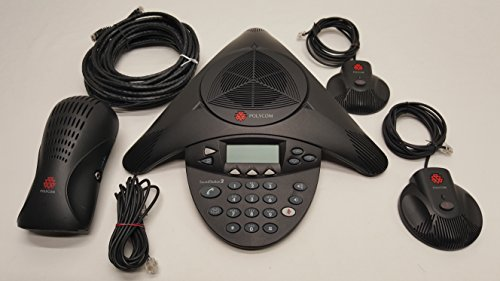 Polycom SoundStation2 Expandable 2201-16200-601 with Polycom 2201-16020-601 Wall Module Power Supply, (2) Polycom SoundStation2 2201-07155-605 Extended Microphones Complete with Cables. ()